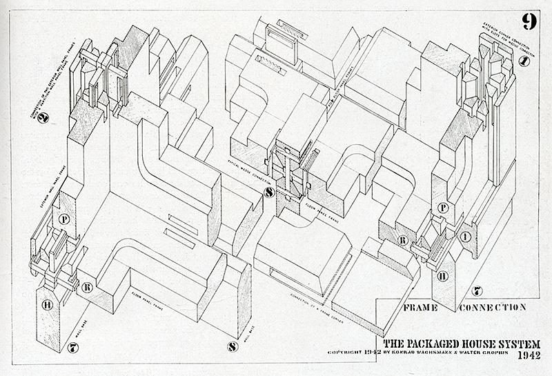 Walter Gropius and Konrad Wachsmann. Interiors v.103 n.5 Dec 1943, 39