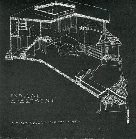 R. M. Schindler. Interiors v.103 n.6 Jan 1944, 41